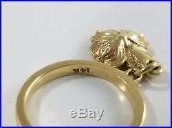 14K Gold James Avery DOGWOOD FLOWER DANGLE CHARM Ring Size 3 Retired