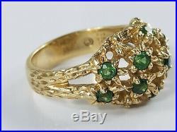 14K Gold James Avery EMERALD MARGARITA FLOWER DOME Ring Size 3 1/2 Retired