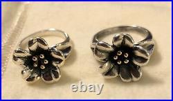 2 James Avery April Flower Ring SIZE 5 & 5 1/2 18k Sterling Silver, RETIRED