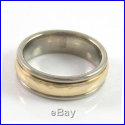 ALL Gold 14K Yellow White James Avery Hammered Gold Band Gold Ring Size 7 DT