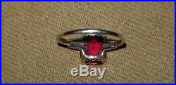 ANTIQUE SIGNED 10K JA YELLOW GOLD 10mm RUBY RED GARNET COCKTAIL RING JAMES AVERY