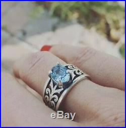 EUC James Avery Sterling Silver Adoree Ring With Blue Topaz Size 6.5 $230+