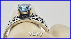 Estate James Avery Sterling Silver Adoree Ring With Blue Topaz Size 8