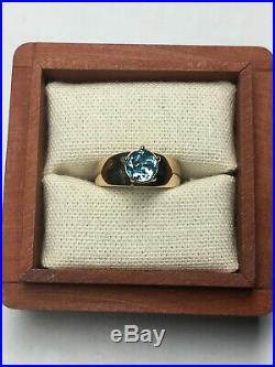 Extremely Rare, James Avery Star of Texas Blue Topaz 14k gold Ring, Sz 7