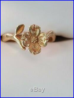 Gorgeous Retired JAMES AVERY Rose / Dogwood Ring 14KT Yellow Gold Size 7