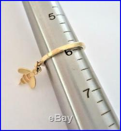 JAMES AVERY 14K GOLD Smooth Dangle Ring with Honeybee Charm Sz 6