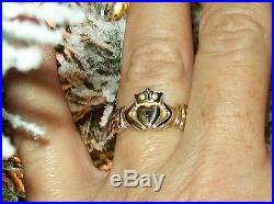 JAMES AVERY ADORNED 14k CLADDAGH RING SIZE 7.5 CELTIC IRISH WEDDING RING