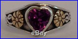 JAMES AVERY AMETHYST HEART RING RETIRED FLOWER 14k Gold SILVER 5.5 w BOX Charm