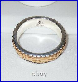 JAMES AVERY Beaded Scrolled Band, Size 6, 14k Gold 925 Silver Ring, Excellent