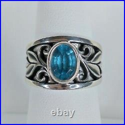 JAMES AVERY Blue Topaz Abounding Vine Ring, Size 6.5, 925 Silver, Leaf Scroll