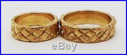 James Avery Custom Made Ring Set 14k Yellow Gold Rare & Unique Carved Design