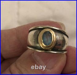 JAMES AVERY Christina Blue Topaz Ring 18K Gold & Sterling Silver Sz 7 RETIRED