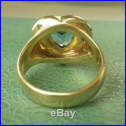 JAMES AVERY RETIRED 14K Blue Topaz HEART Ring Size 6 MINT CONDITION