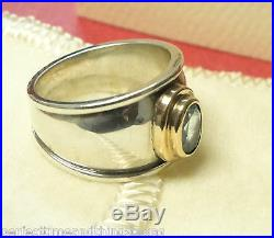 JAMES AVERY RETIRED GOLD & SILVER CHRISTINA BLUE TOPAZ RING 18K Size 6 with Box