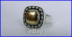 JAMES AVERY Signed 14K 585 & STERLING SILVER RING SQUARE BEADED 9.3G SIZE 7.75