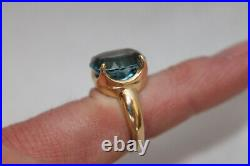 JAMES AVERY Solid 14K Yellow Gold Blue Topaz Ring Sz 6.5