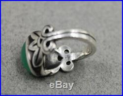 JAMES AVERY Sterling Silver Cabochon Green Chrysoprase Gemstone Ring Size 6 1/2
