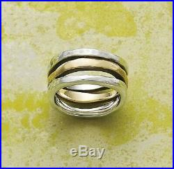 Jame Avery Retired Sterling Silver and Gold Stacked Hammered Ring Size 9