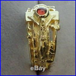 James Avery 14K Gold Martin Luther Passion Christ INRI Ring w Garnet Size 9.75