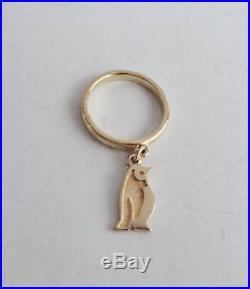 James Avery 14K Gold Penguin Dangle Ring Sz 3-1/2 MSRP $390.00