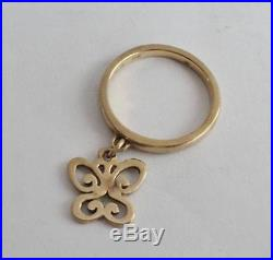 James Avery 14K Gold Spring Butterfly Dangle Ring Sz 4-1/2 MSRP $390.00