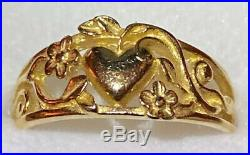 James Avery 14K Solid Yellow Gold Heart Flower Ring Size 8.5