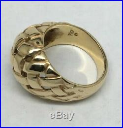 James Avery 14K Yellow Gold Basket Weave Dome Ring Size 8.75