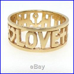 James Avery 14K Yellow Gold Faith Hope Love Wide Band Ring Size 9 LFD4
