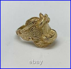 James Avery 14K Yellow Gold Horse Saddle Ring Size 6 Retired/Rare