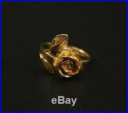 James Avery 14K Yellow Gold LARGE ROSE Ring 5.6g Size 7 Retired