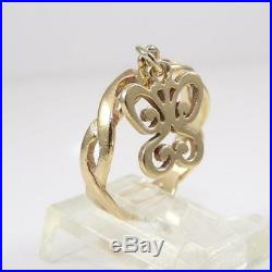 James Avery 14K Yellow Gold Ring Butterfly Dangle Charm Size 6 LHC3