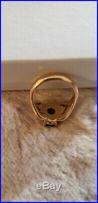 James Avery 14K Yellow Gold Scrolled Heart Ring Red Garnet Stone Size 6 Exc Cond