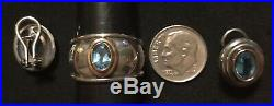 James Avery 14k 18k Gold Sterling Blue Topaz Ear Posts Earrings & Ring Size 7.5