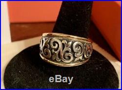 James Avery 14k /. 925 Scrolled FLEUR-De-Lis Ring SZ 8.5 Retail$525