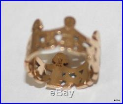 James Avery 14k Gold Children Holding Hands/Paper Doll Retired Ring Size 5 1/2