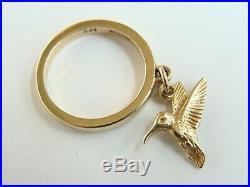 James Avery 14k Gold Hummingbird Dangle Ring size 3.5