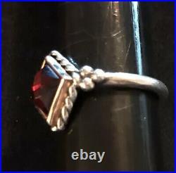 James Avery 14k Gold & Sterling Garnet Alessandra Twist Rope Ring Size 7.25