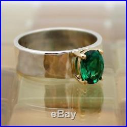 James Avery 14k Gold & Sterling Silver Julietta Green Emerald Ring Size 6, 6G
