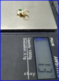 James Avery 14k Remembrance Pendant Lab Emerald Uncut jump Ring Mint Condition
