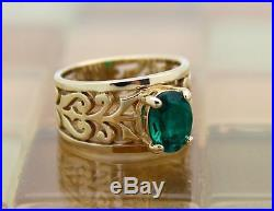 James Avery 14k Yellow Gold Adoree Oval Green Emerald Ring Size 4.5 5.7G RETIRED
