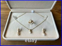 James Avery 14k Yellow Gold Beaded Pearl Earrings, Necklace & Ring Set (Retired)