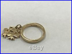 James Avery 14k Yellow Gold Dangle Ring with Frog Charm Size 2.5 JA38