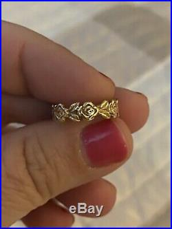James Avery 14k Yellow Gold Eternity Rose Ring Band Size 4