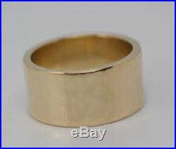 James Avery 14k Yellow Gold Hammer Finish Wedding Band 9.5mm Ring Size 6