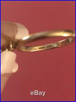James Avery 14k Yellow Gold RING With Dangle Open DOVE Charm Sz 8 Retired