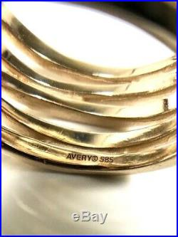 James Avery 14k Yellow Gold Stacked Hammered Ring Size 8.5 $800 New (747)