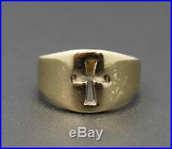 James Avery 14k Yellow Gold Wide Crosslet Ring Size 7.5