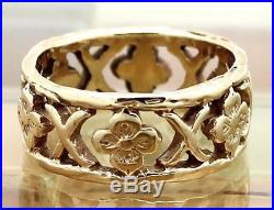 James Avery 14k Yellow Gold X & Flower Eternity Band Ring Size 7, 6.9G RETIRED