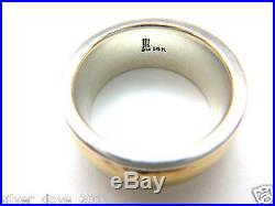 James Avery 14kt Gold/Sterling Silver Hammered Band Ring 3/8Wide