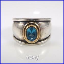 James Avery 18K Gold Sterling Silver Christina Blue Topaz Ring Size 8.5 LDL3